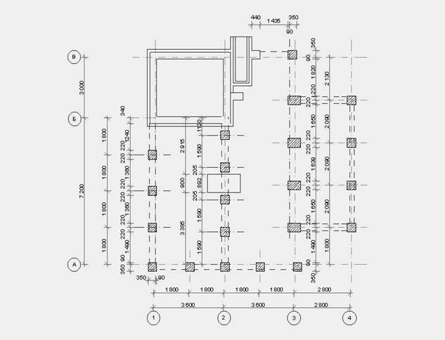 план фундамента стаканного типа