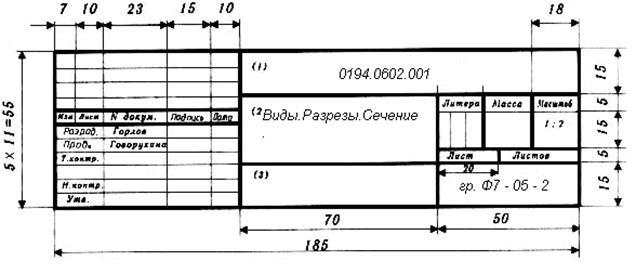 какие параметры рамки и штампа на чертеже размер а1