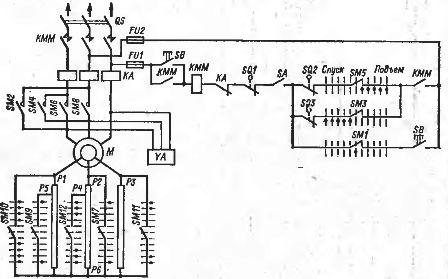 Схема подключения кранового электродвигателя